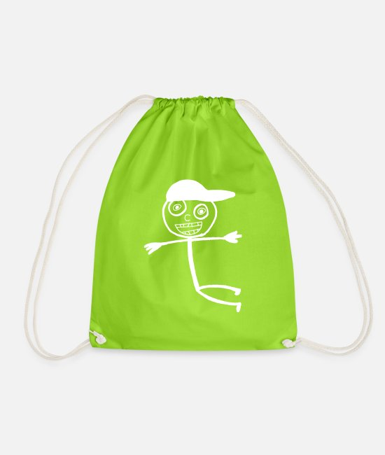 Doodle Bags & Backpacks - Kid In A Cap - White - Drawstring Bag neon green