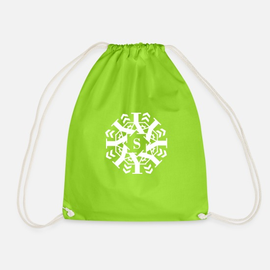 White Bags & Backpacks - lettering - Drawstring Bag neon green