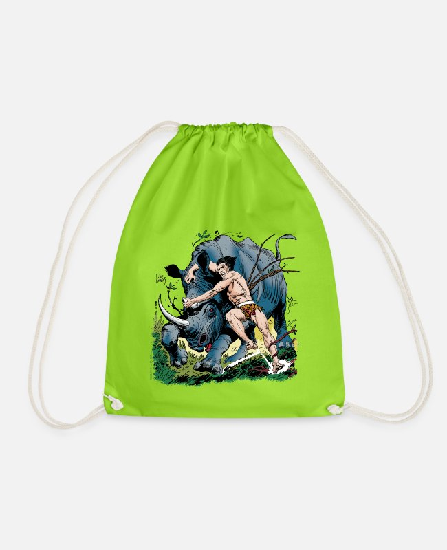 Nature Bags & Backpacks - Tarzan fighting with a rhino - Drawstring Bag neon green