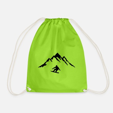 Mountains Snowboard and Mountain, Snowboarding - Drawstring Bag