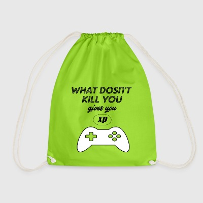 what doesnt kill you gives you xp - Drawstring Bag