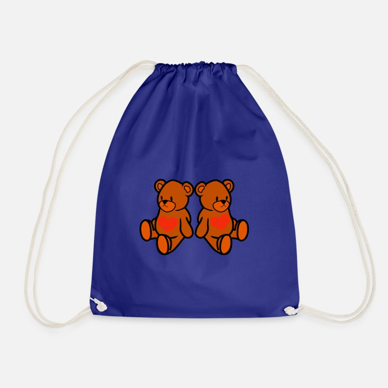 Love Bags & Backpacks - teddy bear - Drawstring Bag royal blue