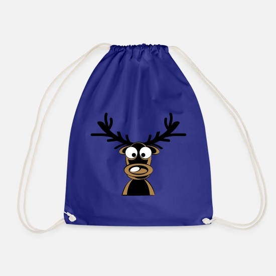 Reindeer Bags & Backpacks - Rudolf the reindeer - Drawstring Bag royal blue