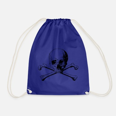 Skull Crossbones skull - Drawstring Bag