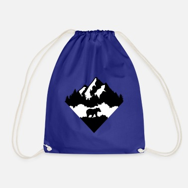 Bear, Forest and Mountains - Drawstring Bag