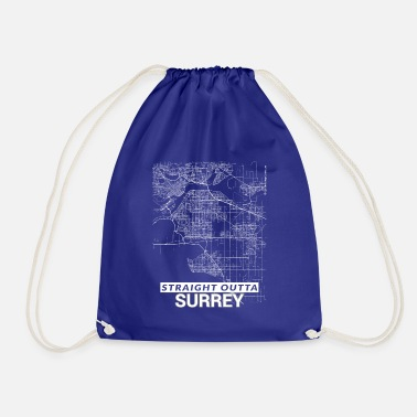 Surrey Straight Outta Surrey city map and streets - Drawstring Bag