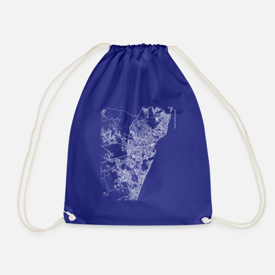 Area Bags & Backpacks - Minimal Recife city map and streets - Drawstring Bag royal blue