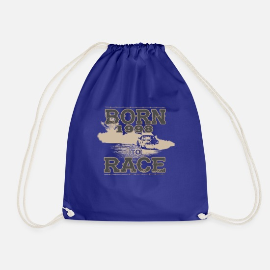 Birthday Bags & Backpacks - born to race racer racing car tuning 1998 - Drawstring Bag royal blue
