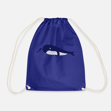 Diver caresses blue whale - Drawstring Bag