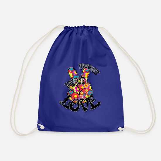 Love Bags & Backpacks - Peace - Drawstring Bag royal blue