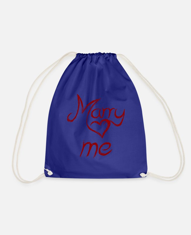 Engagement Bags & Backpacks - marry me - marry me - Drawstring Bag royal blue