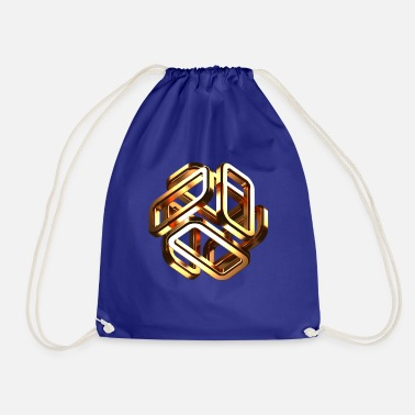 Rubiks Cube gold cubes - Drawstring Bag
