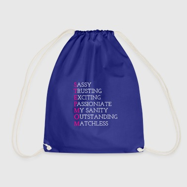 Mothers Day Stepmom Design with word attributes - Drawstring Bag