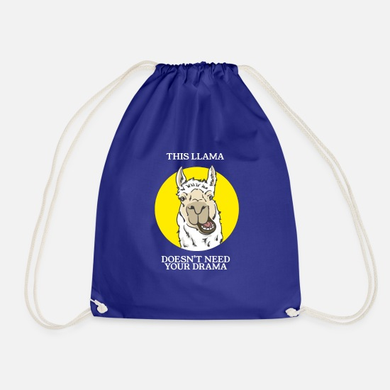 Aversion Bags & Backpacks - LLAMA DRAMA - Gift - Lama - no drama - Drawstring Bag royal blue