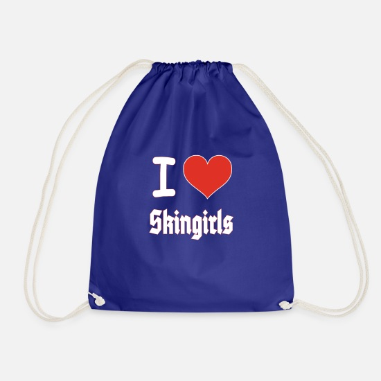 Love Bags & Backpacks - I Love Skin Girls Renee Skinhead Heart T-Shirt - Drawstring Bag royal blue