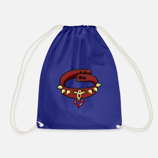 Bdsm Bags & Backpacks - BDSM Slave Slave Submissive Sub Brat Collar - Drawstring Bag royal blue
