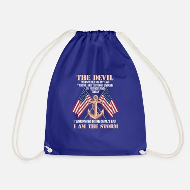 Strong American Man NAVY VETERAN: The Devil Whispered In My Ear - Drawstring Bag
