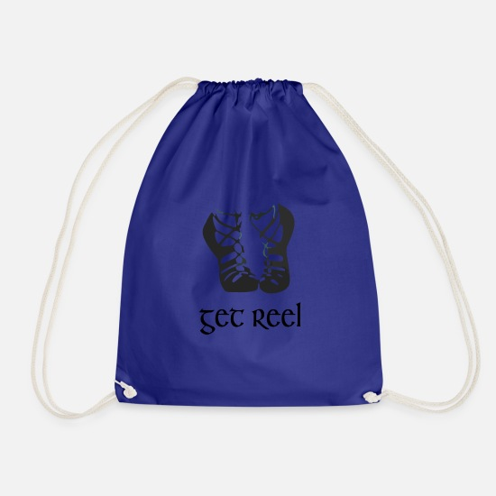 Irish Bags & Backpacks - Funny Girls Irish Dancing Gift Get Reel Irish - Drawstring Bag royal blue