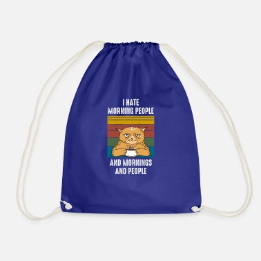 Grumpy In The Morning Morning Grumpy Cat Cats Coffee Grumpy Gift - Drawstring Bag