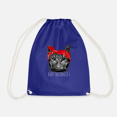 Cat Keep Your Distance Keep distance ! Cat cat with face mask - Drawstring Bag