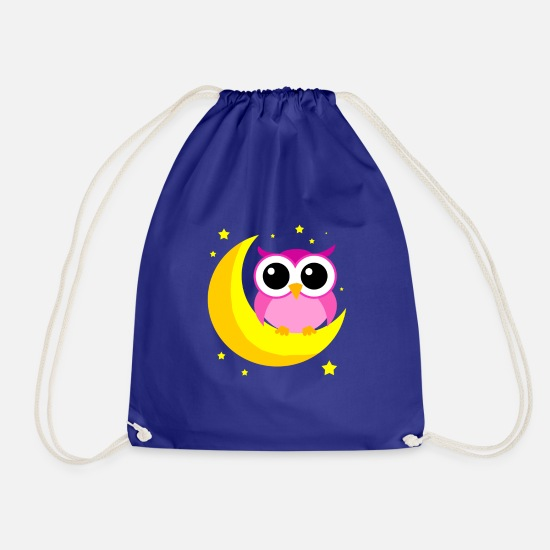 Lover Bags & Backpacks - Pink Owl On Moon Cartoon Nocturnal Bird Lover Cool - Drawstring Bag royal blue