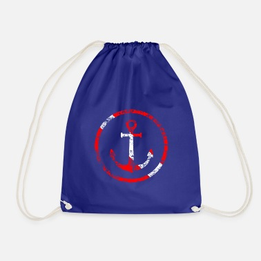 Anchor Anchor in a circle Diver flag Diver used look - Drawstring Bag