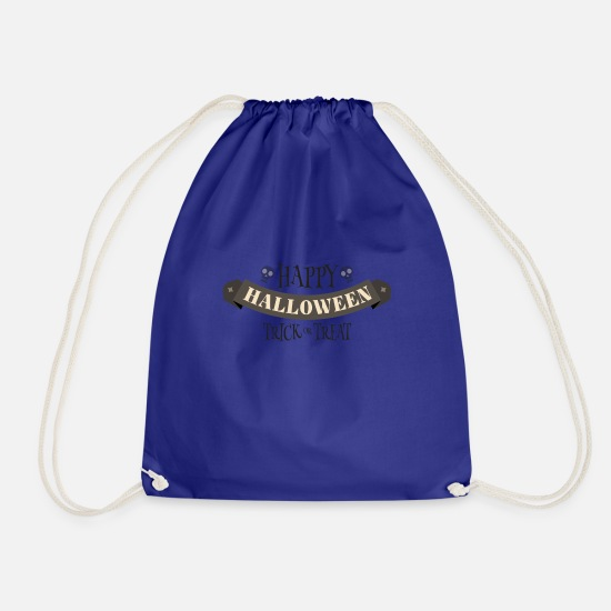Witches Broom Bags & Backpacks - Happy Halloween Skull Skull Trick or Treat - Drawstring Bag royal blue