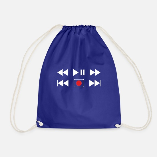 Birthday Bags & Backpacks - Play Pause Record CD Music Gift Idea - Drawstring Bag royal blue