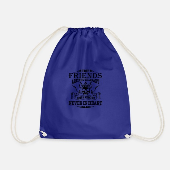 Love Bags & Backpacks - True Friend are never Apart - Drawstring Bag royal blue