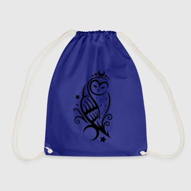 Mond Eule mit Sternen, Tribal Tattoo - Drawstring Bag