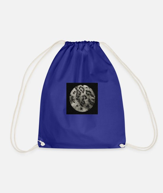 Geometry Bags & Backpacks - circle snow leopard pattern, big cat - Drawstring Bag royal blue