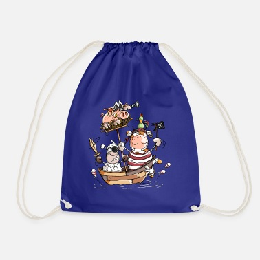 Funny farm pirates - pirate - buccaneers - Drawstring Bag