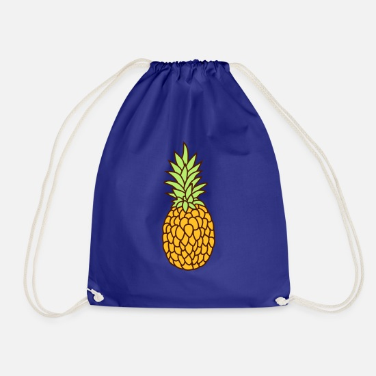 Bless You Bags & Backpacks - pineapple delicious hunger eat fruit healthy nutrition - Drawstring Bag royal blue