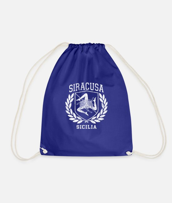 Proud Bags & Backpacks - Sicilia Flag and Shield Stuff with Trinacria - - Drawstring Bag royal blue