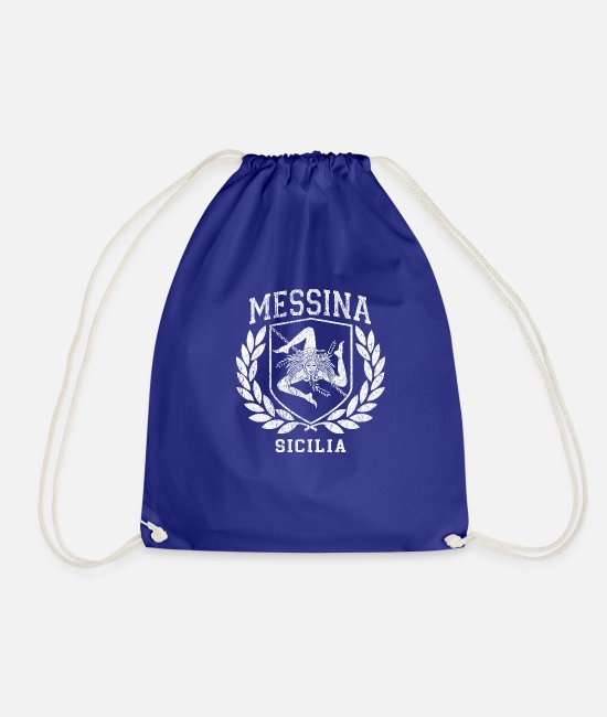 Proud Bags & Backpacks - Sicilia Flag and Shield design with Trinacria - - Drawstring Bag royal blue