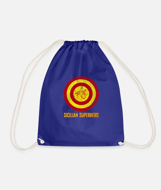 Proud Bags & Backpacks - Sicilian Pride - Sicilia Flag Super Hero Style - Drawstring Bag royal blue