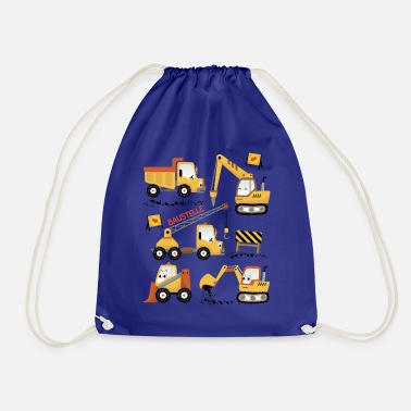 Construction Cute construction site vehicles - Drawstring Bag
