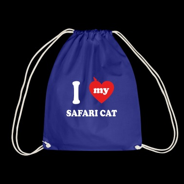 i love fat cats SAFARI CAT - Drawstring Bag