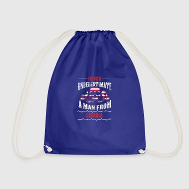never underestimate man LIBERIA - Drawstring Bag
