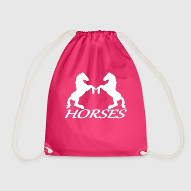 rising horses horse riding equitation - Drawstring Bag
