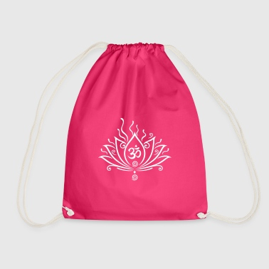 Lotus flower, Yoga with om symbol  - Drawstring Bag
