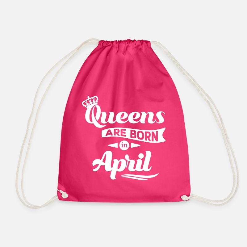 Birthday Bags & Backpacks - Queens are born in april birthday Queen Crown - Drawstring Bag fuchsia