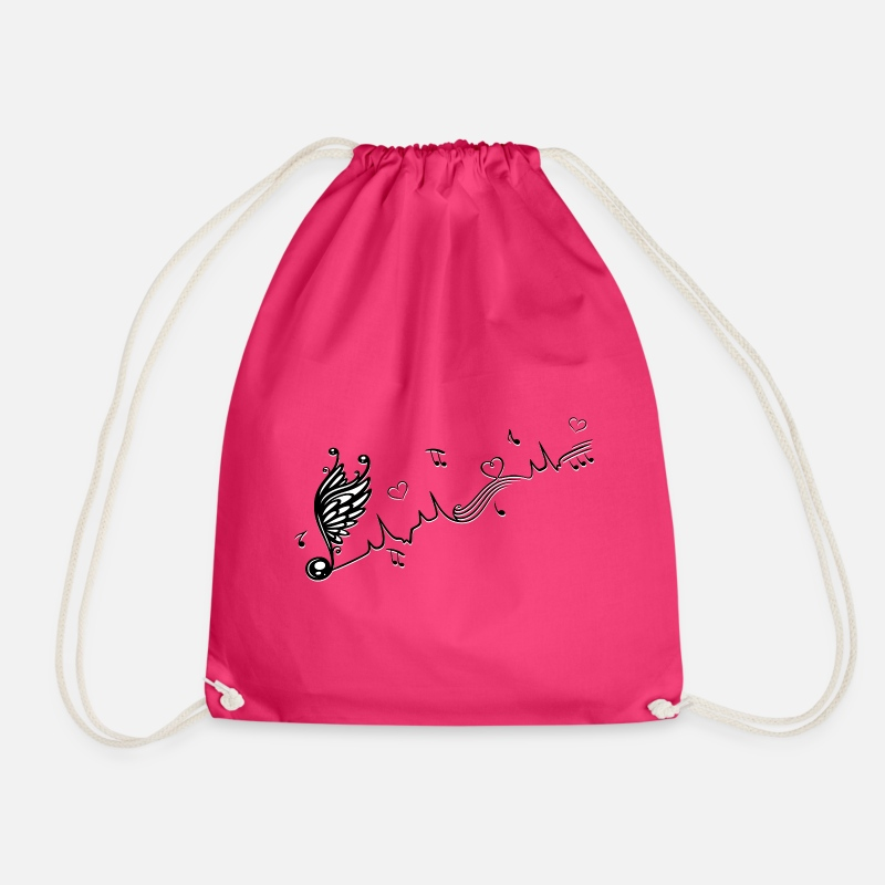 Music Note Bags & Backpacks - Heartbeat with winged Music Note and hearts. - Drawstring Bag fuchsia