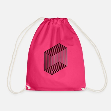 Triangle &amp Optical Illusion (Impossible Minimal B & W Lines) - Drawstring Bag