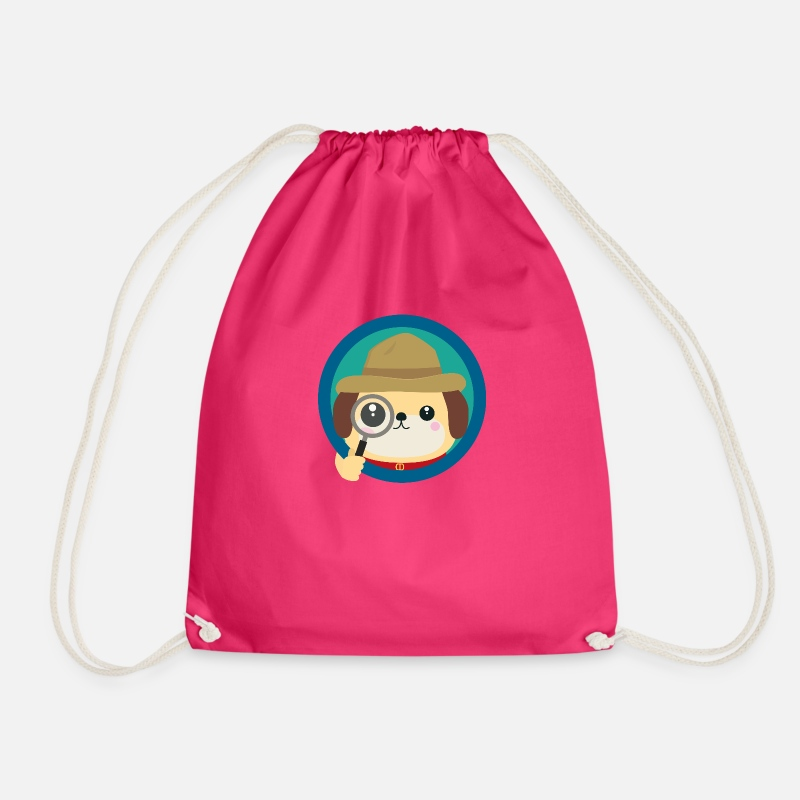 Detective Bags & Backpacks - Dog Detective with magnifying glass - Drawstring Bag fuchsia