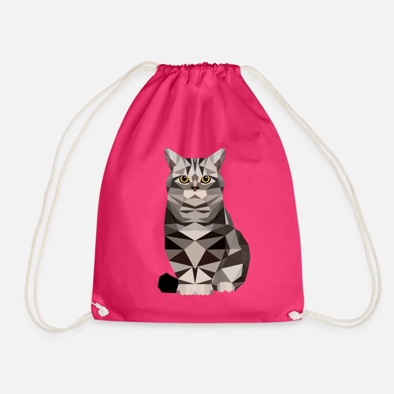 Bestsellers Q4 2018 Bags & Backpacks - Cat  polygon House cat kitten cat - Drawstring Bag fuchsia