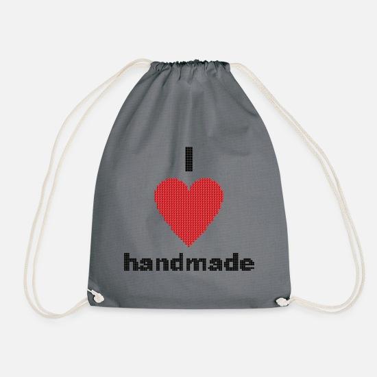 I Love Handmade Heart Diy Crafts Drawstring Bag White