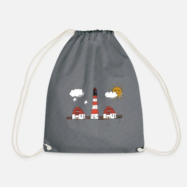 Westerhever lighthouse drawing - Drawstring Bag