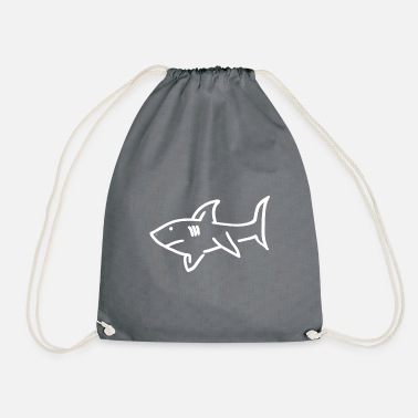Shark shark predator ocean sea animal sea water - Drawstring Bag