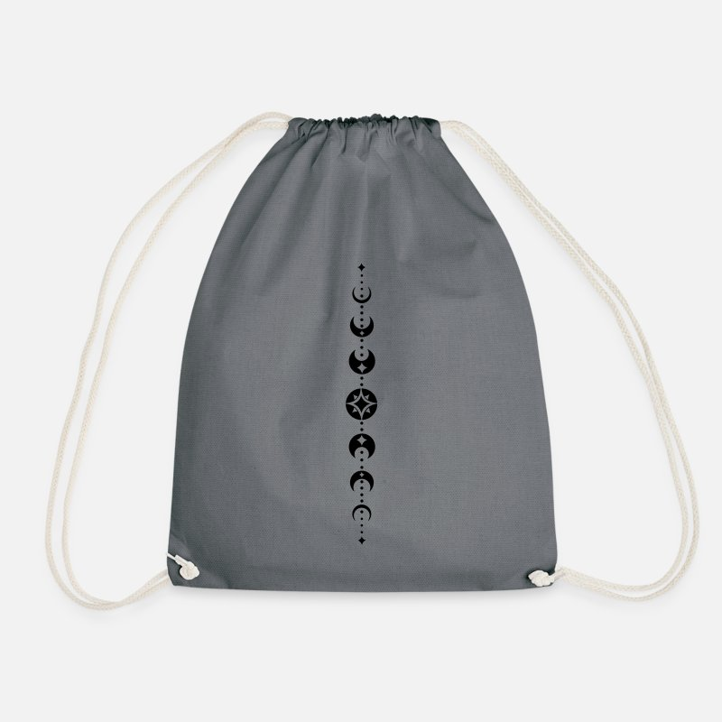 Moon Bags & Backpacks - Totem with moon phases and stars. Black. - Drawstring Bag gray